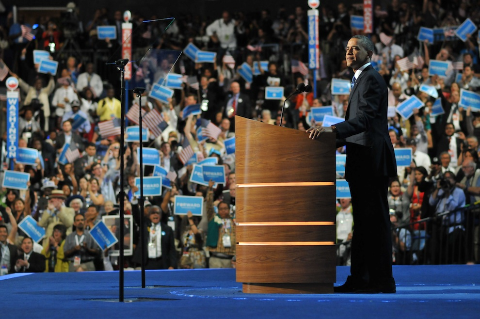 Click photo to download. Caption: President Barack Obama on stage at the 2012 Democratic National Convention. Credit: DemConvention.