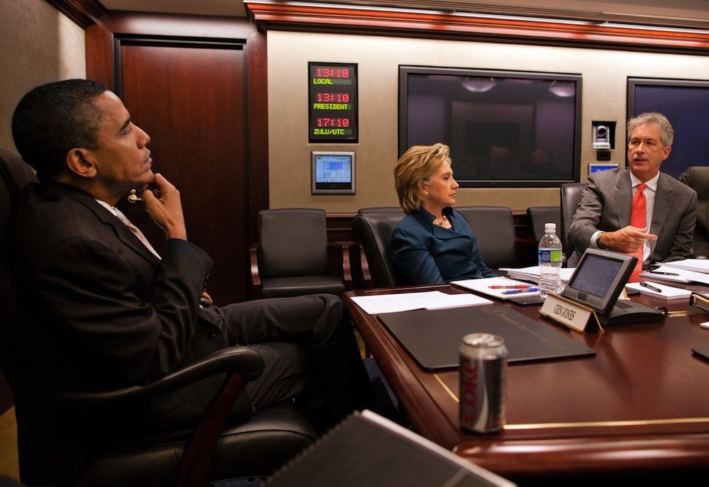 Click photo to download. Caption: President Barack Obama, Secretary of State Hillary Clinton, and Undersecretary of State Bill Burns in the White House Situation Room. Credit: White House.