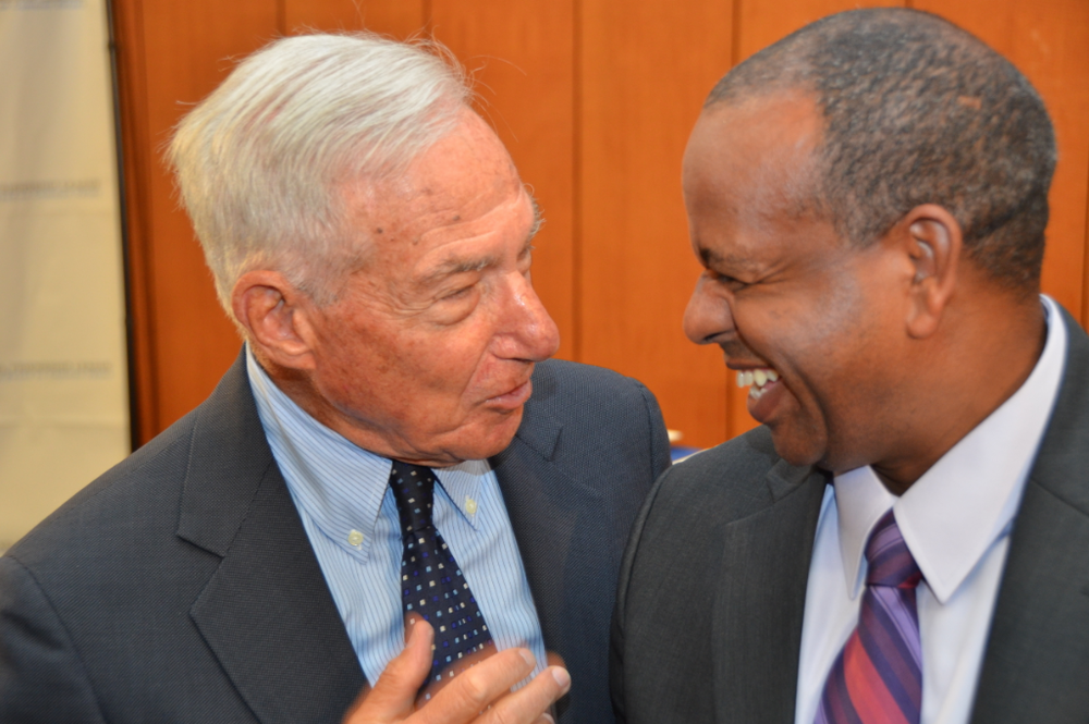 Click photo to download. Caption: Deputy Speaker of the Knesset Shlomo Molla (right) shares a moment of humor with Kenneth Bialkin, Chairman of the America Israel Friendship League, sponsor of Molla's four-city east coast tour. Credit: Maxine Dovere.
