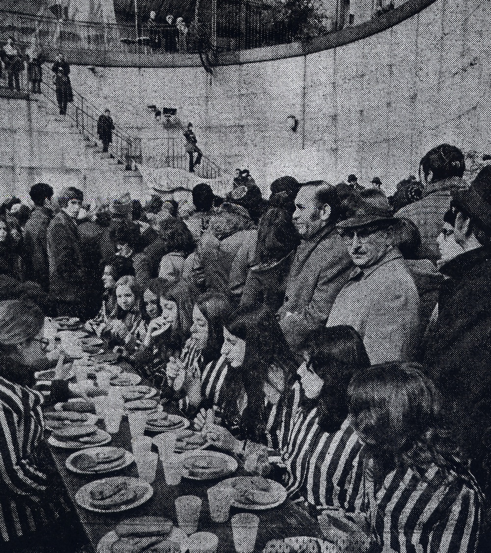 "Click photo to download. Caption: Outside the United Nations in February 1973, Rabbi Haskel Lookstein's students from the Ramaz School, dressed in prison garb, took part in a ""horror meal"" of stale bread and water, similar to what Soviet Jewish prisoners received. Credit: Courtesy of Congregation Kehilath Jeshurun."