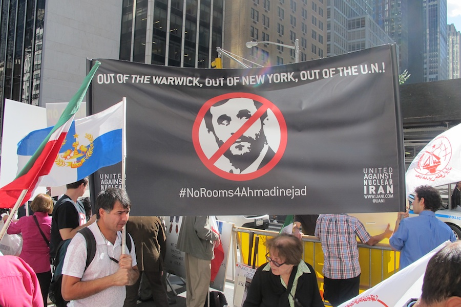 Click photo to download. Caption: On September 24, 2012, United Against Nuclear Iran led protests against Iranian President Mahmoud Ahmadinejad at the Warwick New York Hotel (which housed Ahmadinejad) in New York City during the United Nations General Assembly. Credit: United Against Nuclear Iran.