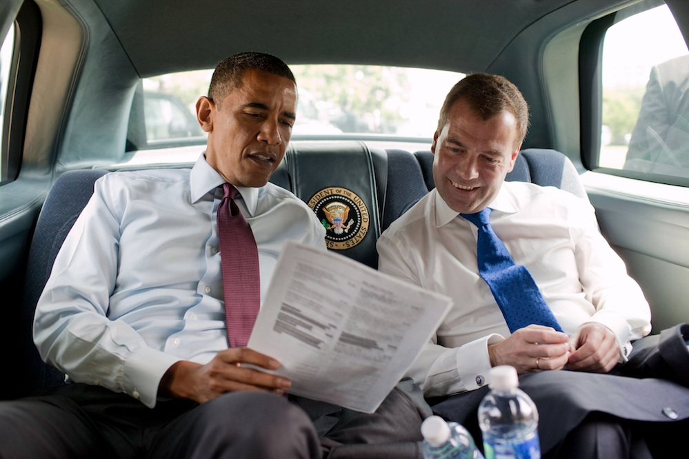 "Click photo to download. Caption: U.S. President Barack Obama and former Russian President Dmitry Medvedev. Columnist Sheldon Adelson notes that earlier this year, Obama was inadvertently recorded asking former Medvedev for ""space"" untill his reelection, when he'd have more ""flexibility"" on missile defense. Credit: White House."