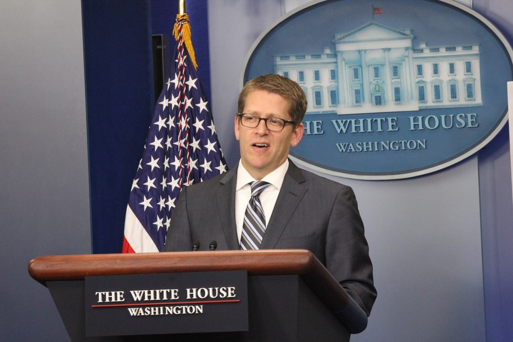 Click photo to download. Caption: White House Press Secretary Jay Carney, who can't name Israel's capital, writes Sheldon Adelson. Credit: John Arundel.