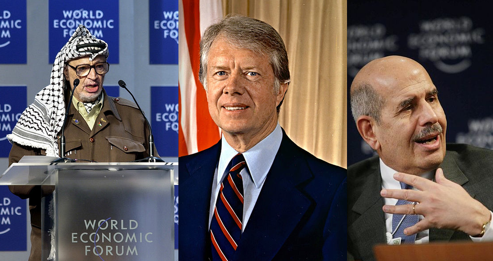 "Click photo to download. Caption: JNS.org columnist Ben Cohen's ""laughable"" Nobel Peace Prize winners: PLO leader Yasser Arafat, former president Jimmy Carter, former International Atomic Energy Agency chief Mohammed ElBaradei. Credit: Wikimedia Commons."