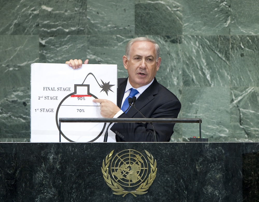 Click photo to download. Caption: Benjamin Netanyahu, Prime Minister of Israel, points to a bomb cartoon that illustrated his take on Iranian nuclear development when he addressed the 67th session of the United Nations General Assembly. Credit: UN Photo/J Carrier.