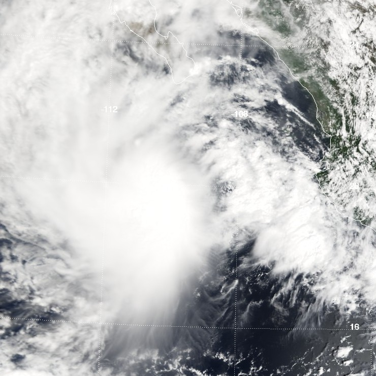 "Click photo to download. Caption: This image shows Tropical Storm Ivo in the Pacific Ocean on Sept. 12, 2001. The storm never reached hurricane status, but did make political waves when it was nearly named ""Israel."" Credit: NASA."