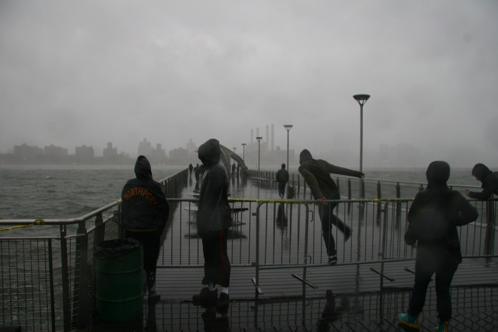 Click photo to download. Caption: The waterfront in the Williamsburg section of Brooklyn amid Hurricane Sandy Oct. 29. Credit: Lookcatalog/Wikimedia Commons.