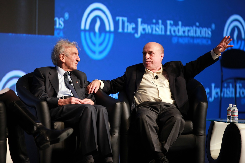 Click photo to download. Caption: Elie Wisel and Natan Sharansky on stage during the Jewish Federations of North America (JFNA) General Assembly on Monday. Credit: David Karp.