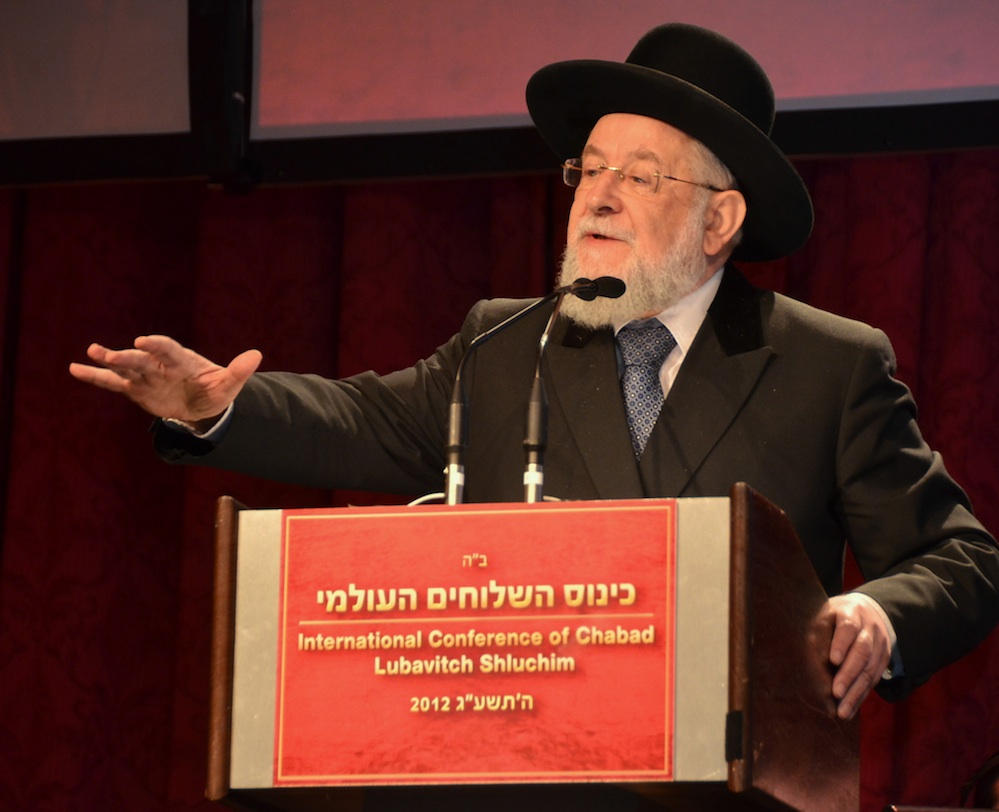 Click photo to download. Caption: Rabbi Yisrael Meir Lau, former Ashkenazi chief rabbi of Israel, speaks at the Nov. 11 Chabad emissary conference in New York. Credit: Maxine Dovere.