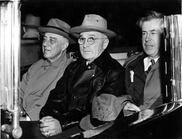 Click photo to download. Caption: From left to right, Franklin Delano Roosevelt, Harry Truman, and Henry Wallace. Credit: Abbie Rowe/Wikimedia Commons.