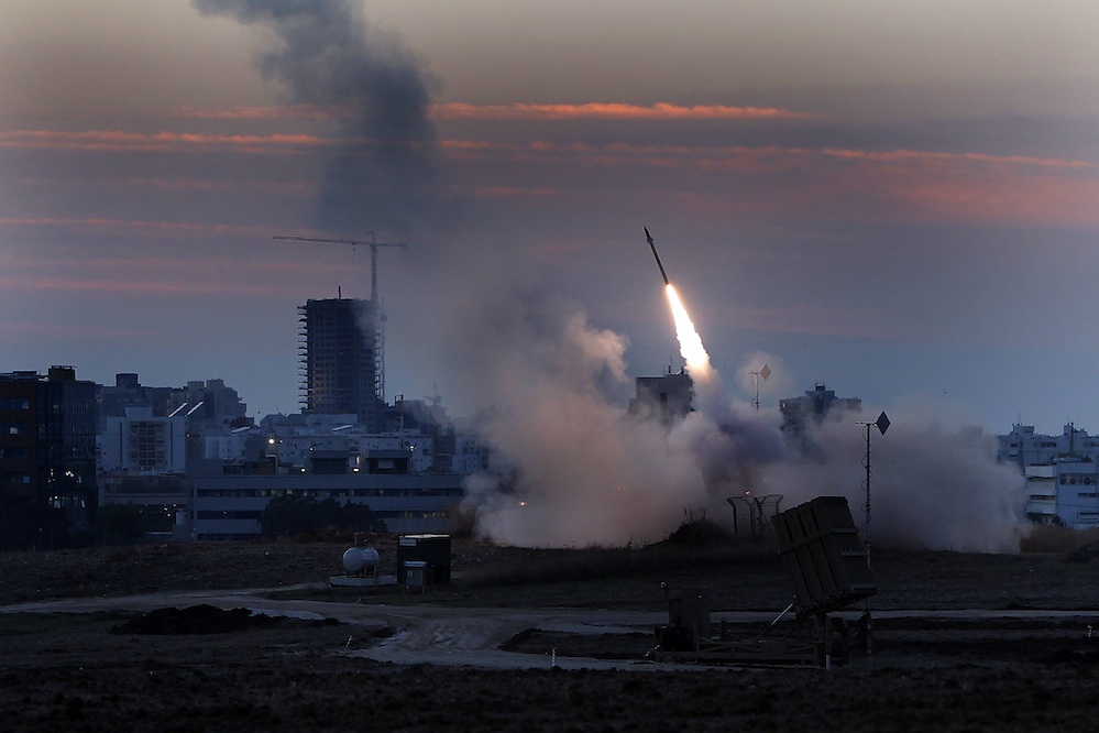 Click photo to download. Caption: The Iron Dome defense system fires to interecpt incoming missiles from Gaza in the port town of Ashdod, Thursday, Nov. 15, 2012. Credit: Tsafrir Abayov/Flash90.