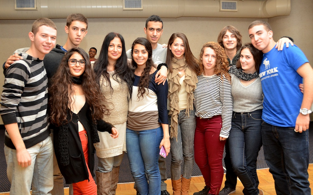 Click photo to download. Caption: The Youth Ambassadors Student Exchange (YASE) contingent from Rishon LeZion—Israeli survivors of Hurricane Sandy—pictured in New York. Credit: Maxine Dovere.