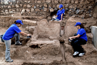 "Click photo to download. Caption: The ""fancy Roman bathouse"" discovered two stories underground on Ha'omer Street in Jerusalem. Credit: Israel Antiquities Authority."
