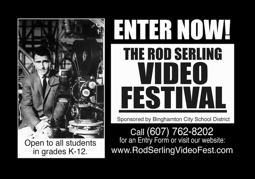 "Click photo to download. Caption: A publicity magnet for ""The Rod Serling Video Festival."" Credit: Lawrence Kassan."