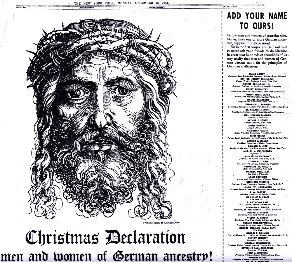 "Click photo to download. Caption: Seventy years ago on Dec. 22, the ""Christmas Declaration by men and women of German ancestry"" appeared as a full-page ad in the New York Times and nine other major daily newspapers. One of 50 signatories (seventh name from bottom) was Babe Ruth. Credit: Courtesy Rafael Medoff."