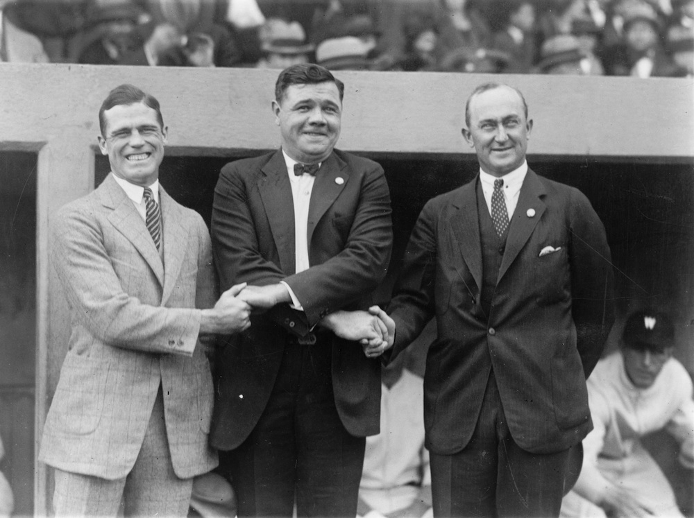 Click photo to download. Caption: Left to right, baseball legends George Sisler, Babe Ruth and Ty Cobb Date on Oct. 4, 1924. Credit: Library of Congress.
