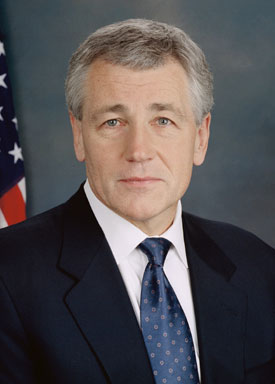 Click photo to download. Caption: Former Nebraska senator Chuck Hagel, a candidate for Secretary of Defense. Credit: U.S. Senate.