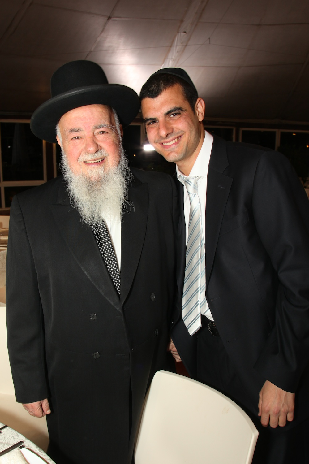 Click photo to download. Caption: Yosef Tolidano, founder of the Ma'aseh Nissim kollel for the deaf, with his grandfather Rav Nissim Tolidano (left). Credit: Courtesy Ma'aseh Nissim.