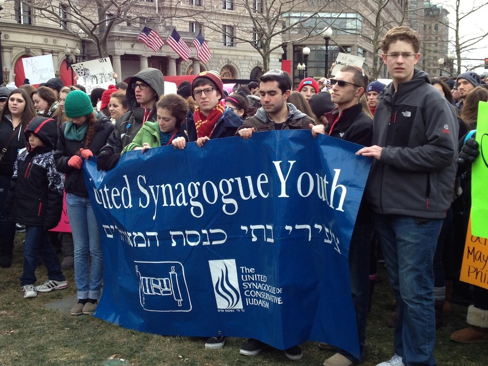 Click photo to download. Caption: Jewish youths rally against gun control Dec. 26 at a Boston event organized by United Synagogue Youth (USY). Credit: USY.