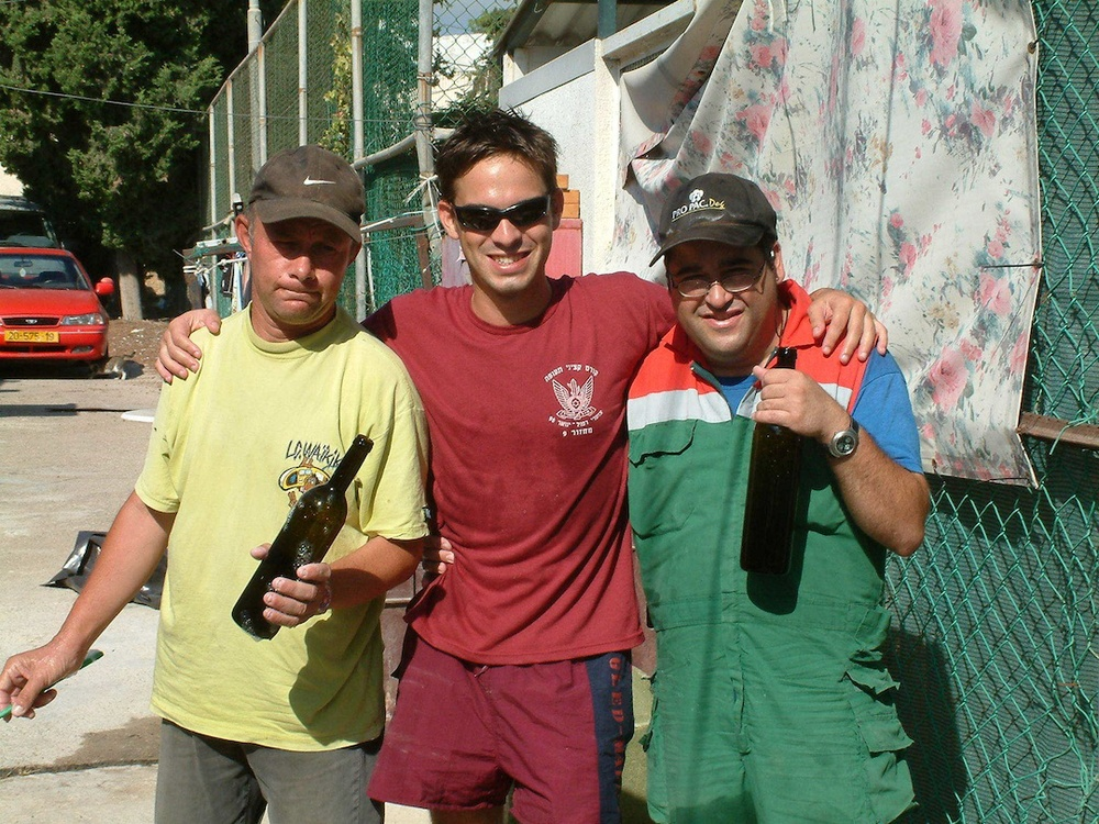 Click photo to download. Caption: From left to right, Eli Sternzis, Roy Itzhaki (owner) and Dedi Ashkenazi at Tulip Winery. Credit: Courtesy Tulip Winery