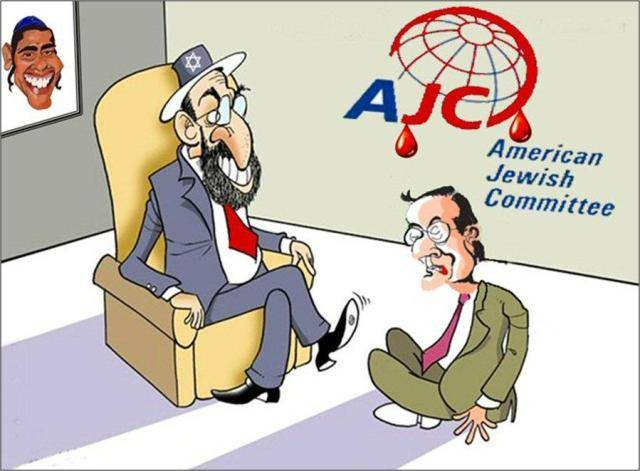 Click photo to download. Caption: Greek Golden Dawn neo-Nazi party posted an article with this  cartoon showing Greek Prime Minister Samaras under a bloody AJC logo in front of a grotesque Jewish man, and a wall picture of U.S. President Barack Obama similarly portrayed as a religious Jew. Credit: AJC