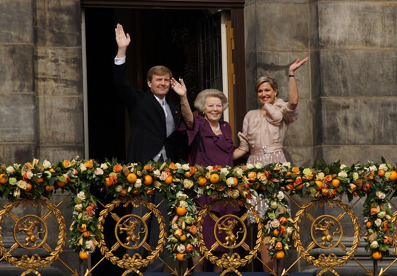 Click photo to download. Caption: Newly-crowned Dutch King Willem-Alexander with his mother Beatrix, who has abdicated as Queen, and his wife, the newly-dubbed Queen Maxima. Credit: Floris Looijesteijn via Wikimedia Commons.