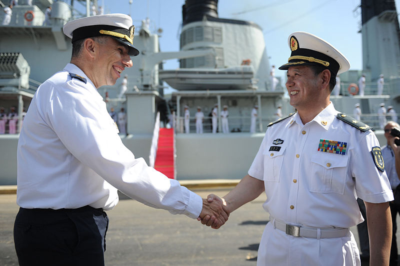Click photo to download. Caption: The Israeli Navy meets with the Chinese Navy at the Haifa port in August 2012 in honor of the 20 years of cooperation between the navies. This month, Israeli Prime Minister Benjamin Netanyahu will visit China in a visit planned to further deepen relations. Credit: Wikimedia Commons.