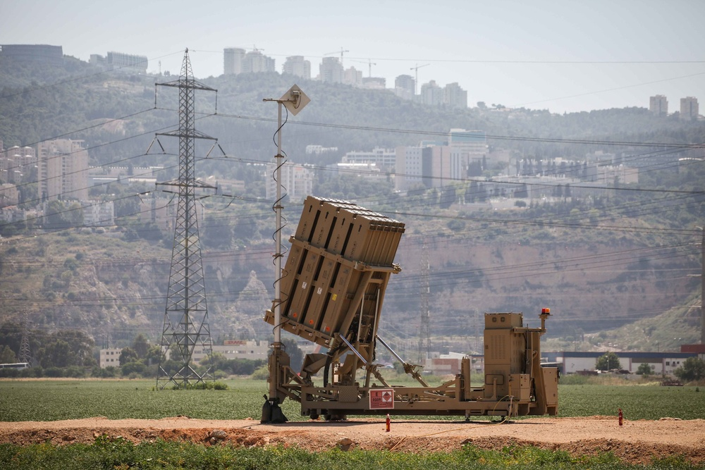 Click photo to download. Caption: A view of an Iron Dome anti-missile battery near the Northern Israeli town of Haifa. Israel deployed two Iron Dome batteries in the north on May 5 after reported Israeli airstrikes on a military research center near Damascus. Credit: Avishag Shaar Yashuv/Flash90.