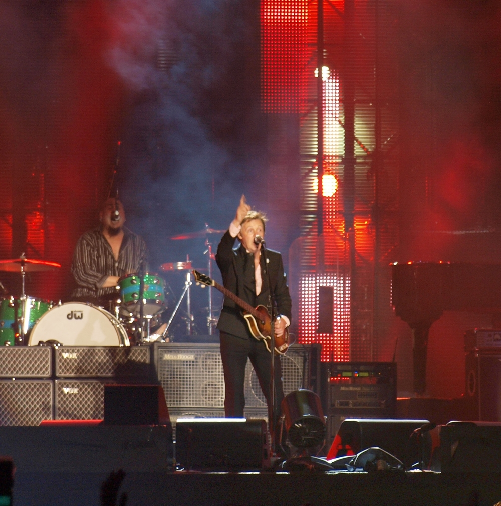 Click photo to download. Caption: Paul McCartney performs in Tel Aviv in September 2008. Credit: DMY/Wikimedia Commons.