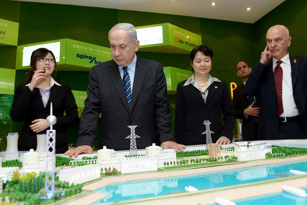 Israeli Prime Minister Benjamin Netanyahu visits a technology exhibition in Shanghai, China, on Monday, May 6, during his five-day visit to the country. Credit: Avi Ohayon/GPO/FLASH90.