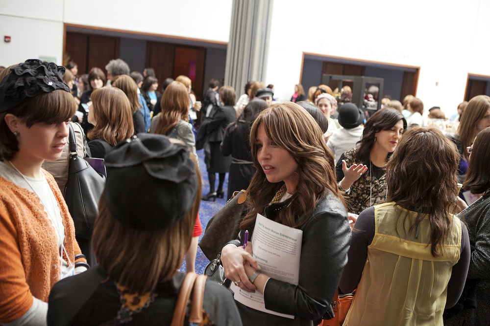 Click photo to download. Caption: Orthodox Jewish women network at the first-ever conference of The Jewish Woman Entrepreneur nonprofit on May 5 in New Brunswick, NJ. Credit: The Jewish Woman Entrepreneur.