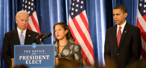 Ambassador Susan Rice, flanked by Vice President Joe Biden and President Barack Obama, on Dec. 2, 2008. Credit: Wikimedia Commons.