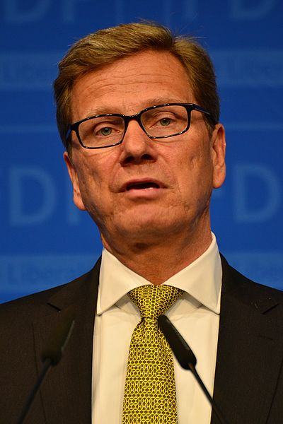 Click photo to download. Caption: German Foreign Minister Guido Westerwelle. Credit: Dirk Vorderstraße via Wikimedia Commons.