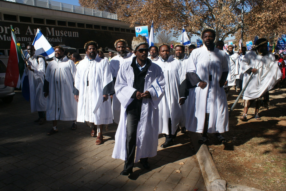 "Click photo to download. Caption: Members of the Shembe Church of South Africa at the Pretoria Art Museum for last June's ""Africans for Israel"" march, organized by Reverend Kenneth Meshoe, a parliament member in South Africa. Credit: Courtesy Esther Meshoe."