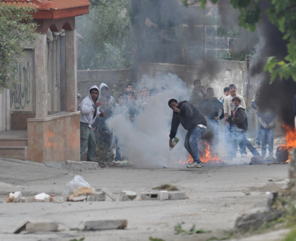 Palestinian rioters in El-Arrub. Credit: Israel Defense Forces.