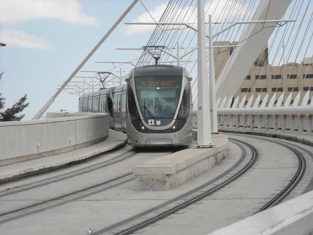Click photo to download. Caption: Jerusalem's light rail on the Chords Bridge. Credit: Matanya/Wikimedia Commons.