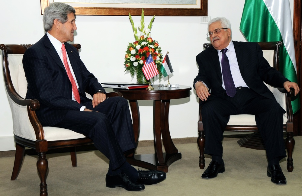 Click photo to download. Caption: U.S. Secretary of State John Kerry, who has already visited the Middle East four times since being named to his new post in February in an attempt to revive Israeli-Palestinian negotiations, meets with Palestinian Authority President Mahmoud Abbas in Ramallah on May 23, 2013. Credit: State Department.