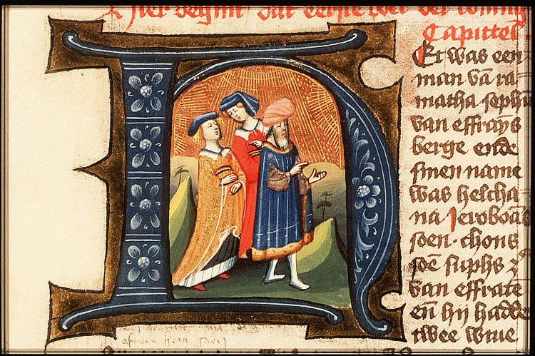 Click photo to download. Caption: An illustration of Elkanah and his two wives. In honor of Father's Day 2013, JNS.org compiled some quick facts about some rather un-famous (though not all infamous) fathers of famous biblical characters, including Elkanah. Credit: Masters of Utrecht/Wikimedia Commons.