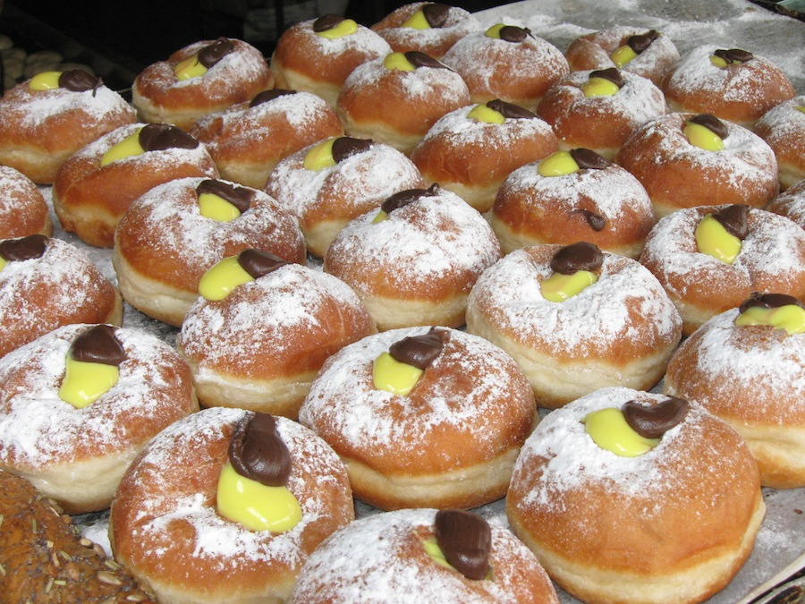Click photo to download. Caption: Bake your own Sufganiyot (Hanukkah doughnuts) for your loved ones. Credit: Wikimedia Commons