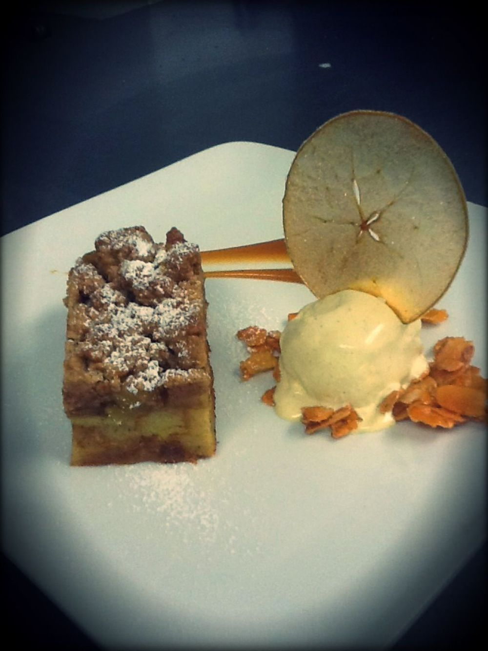 Click photo to download. Caption: Bread pudding with caramelized apples. Credit: Courtesy Amos Hayon.