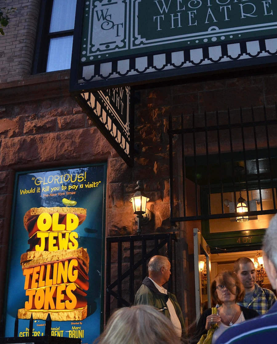 "Click photo to download. Caption: Outside ""Old Jews Telling Jokes,"" the off-Broadway (and according to JNS.org's reviewer, off color) show in New York City. Credit: Maxine Dovere."
