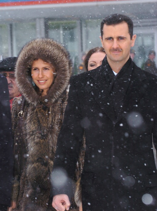Syrian President Bashar al-Assad with his wife Asmaa in Moscow. Credit: Wikimedia Commons.