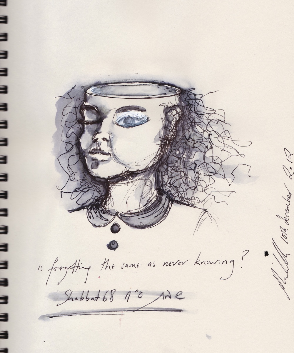 Click photo to download. Caption: A woman with the top of her head missing in a depiction of a daf (page) from Tractate Shabbat in the Talmud by Jacqueline Nicholls. Credit: Illustration by Jacqueline Nicholls.