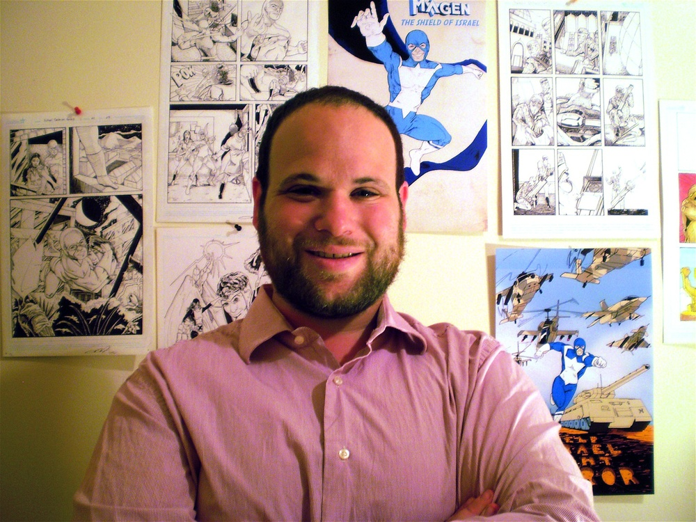 "Joshua Stulman, pictured, submitted his comic book for the Arthur Szyk Prize of Disruptive Thought and Zionist Art, sponsored by Artists 4 Israel and the Jewish National Initiative (JNI), along with more than 100 artists who submitted a piece of work, from music to paintings to dance to film, in hopes of winning the $1,000 prize. Stulman's superhero Magen, meaning ""shield"" in Hebrew, is inspired by superheroes like Captain America, created by Joe Simon and Jack Kirby. Credit: Courtesy Joshua Stulman."