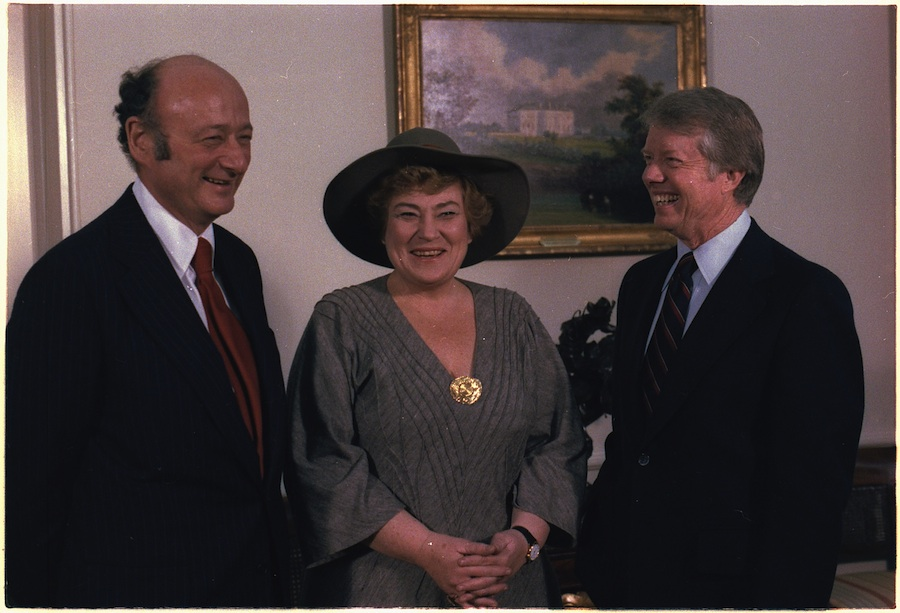 Click photo to download. Caption: From left to right, New York Mayor Ed Koch, Congresswoman Bella Abzug (D-NY) and President Jimmy Carter during a meeting in 1978. Credit: White House.