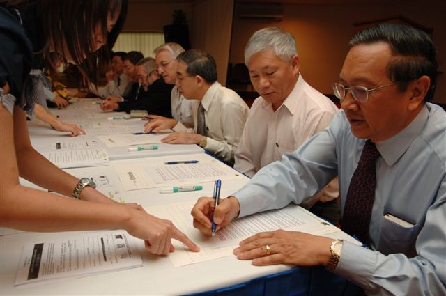 Click photo to download. Caption: A launch event for the People of the World Inscribe the Bible initiative in Singapore. Credit: Courtesy Jerusalem Bible Initiative.