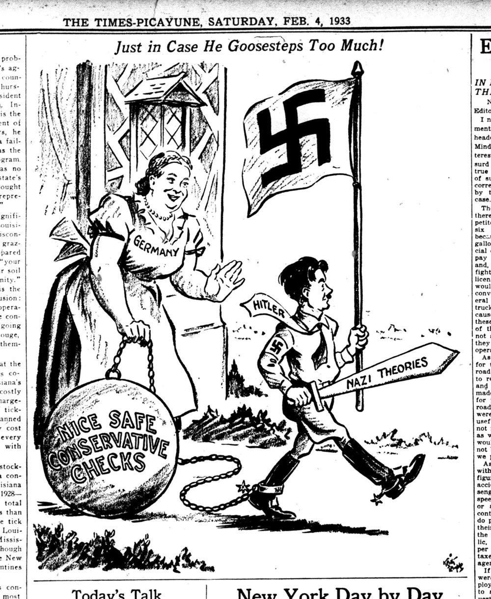 Click photo to download. Caption: Cartoonist Keith Temple, in the New Orleans Times-Picayune, echoed the naive but widespread belief in the West that conservative leaders in the German political and industrial communities would restrain Hitler's radicalism. Credit: Courtesy of The David S. Wyman Institute for Holocaust Studies.