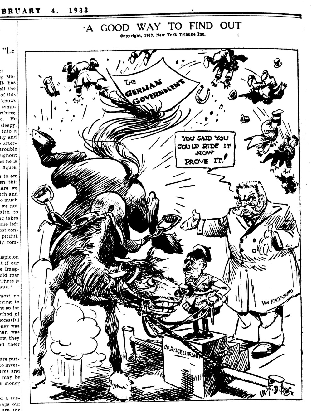 Click photo to download. Caption: Jay Darling, cartoonist for the New York Herald-Tribune, suggested that German president Paul von Hindenburg had appointed Hitler chancellor in the expectation that the Nazi leader was not up to the job. Credit: Courtesy of The David S. Wyman Institute for Holocaust Studies.