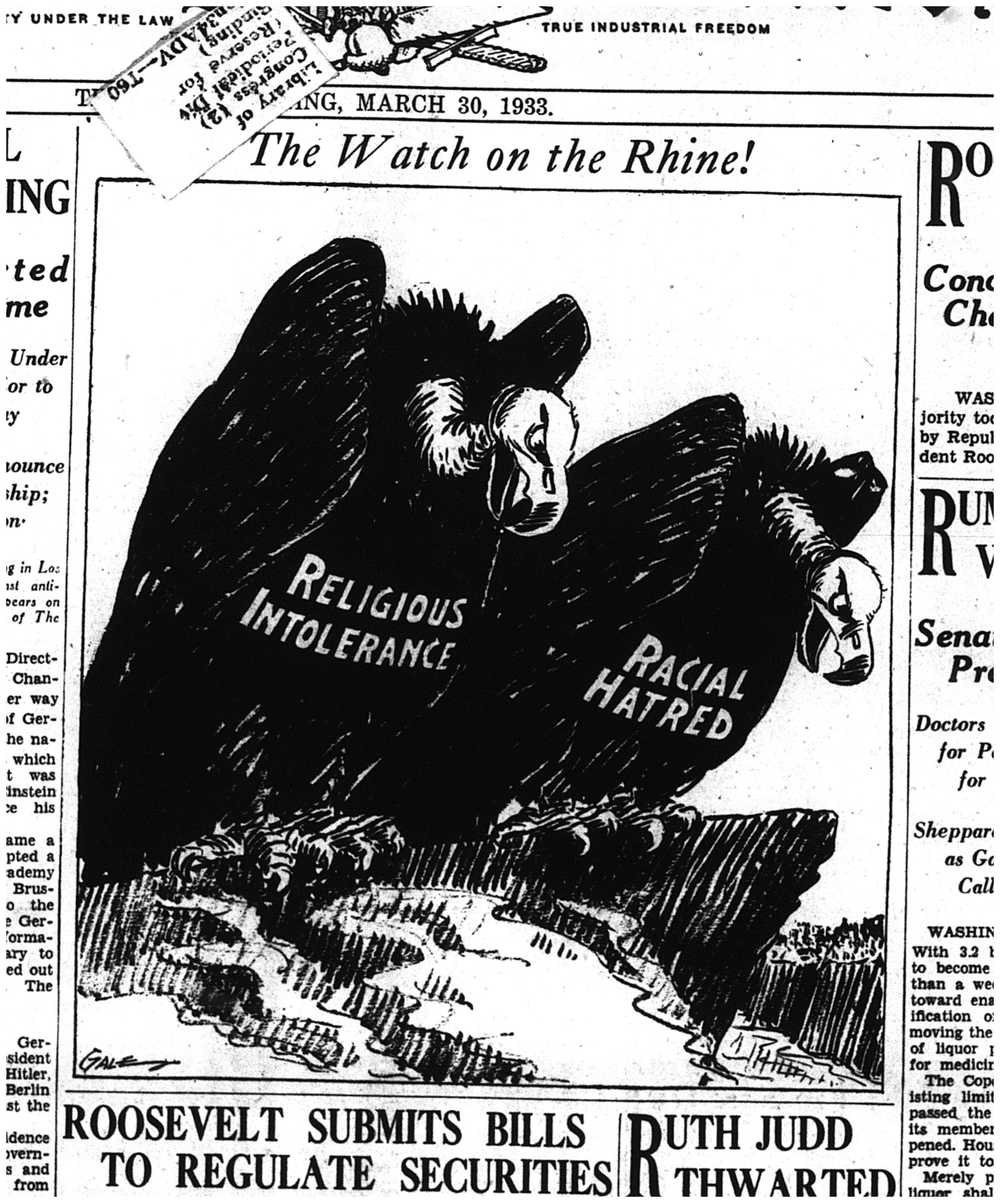 "Click photo to download. Caption: Edmund Gale's cartoon in the Los Angeles Times invoked one of the best-known symbols of Germany, ""Watch on the Rhine,"" a 19th century German patriotic song exhorting the public to defend the Rhine, Germany's longest river, from the country's enemies. Credit: Courtesy of The David S. Wyman Institute for Holocaust Studies."