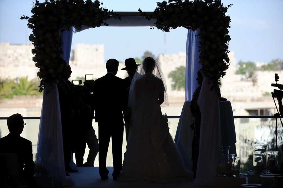 Click photo to download. Caption: A chuppah in Jerusalem. Credit: Nikki Fenton.